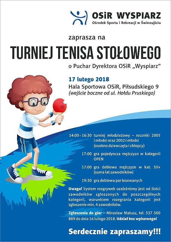 """Turniej Tenisa Stołowego o Puchar Dyrektora OSiR """"Wyspiarz"""""""