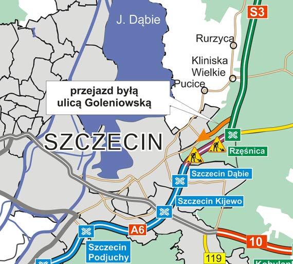 Mniejsze korki na A6 - przejazd byłą ulicą Goleniowską otwarty
