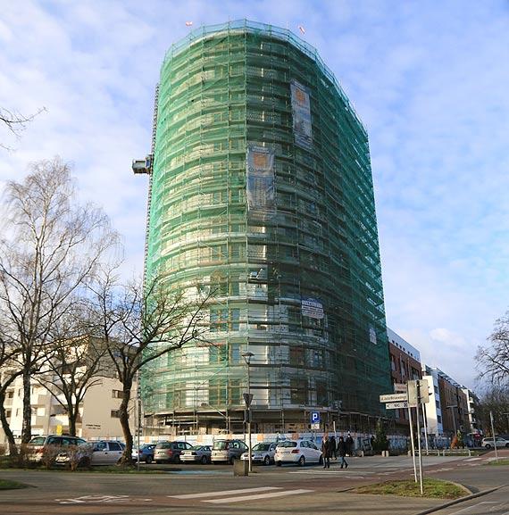 Apartamentowiec przy Wojska Polskiego imponuje wysokością, ale można podziwiać go tylko z zewnątrz