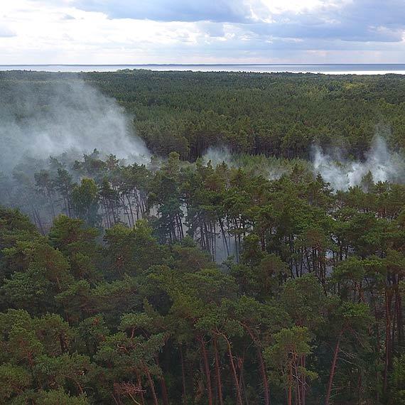 Pożar w lesie na terenie jednostki wojskowej