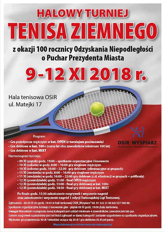 """OSiR """"Wyspiarz""""  zaprasza po raz kolejny na Halowy Turniej Tenisa Ziemnego o Puchar Prezydenta Miasta. W tym roku świętujemy 100 -lecie Odzyskania Niepodległości"""