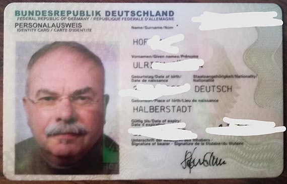 Znaleziono dowód osobisty obywatela Niemiec