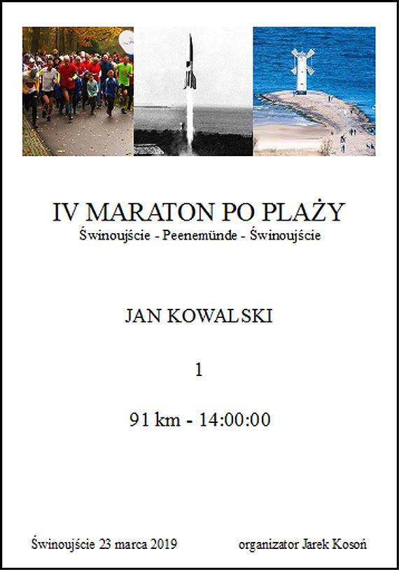 23 marca 2019 roku odbędzie się IV Maraton po Plaży