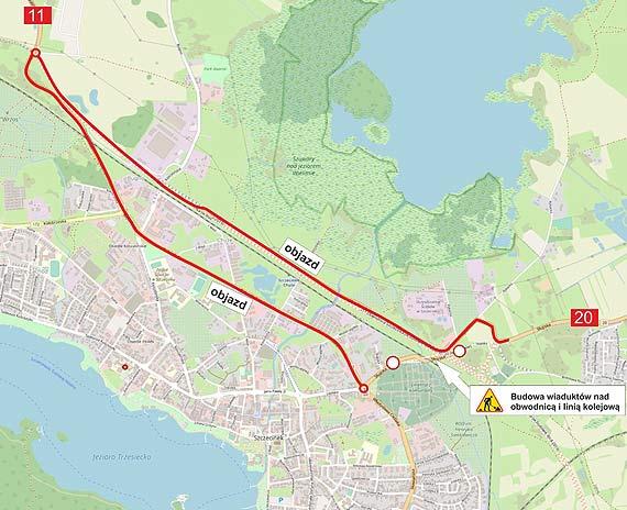 Objazd w Szczecinku w związku z budową obwodnicy w ciągu S11