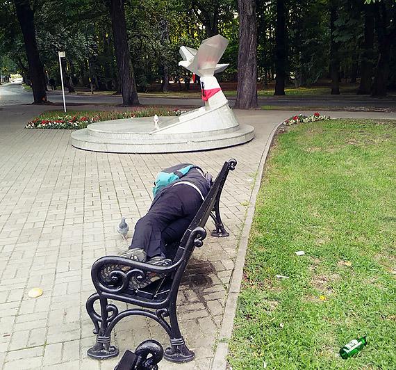 Bezdomni urządzają libacje pod pomnikiem
