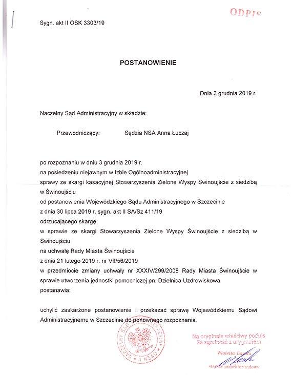 Stowarzyszenie Zielone Wyspy Świnoujście wygrało batalię z Gminą Miasto Świnoujście w Naczelnym Sądzie Administracyjnym w Warszawie